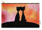 Two Cats And Sunset Silhouette Carry-all Pouch