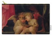 Two Cherubs Reading Detail From Madonna And Child With Saints Carry-all Pouch