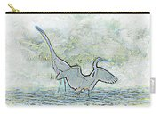 Two Egrets In Water I Glow Brilliant On White II Carry-all Pouch