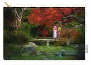 Two Girls In Kimono Standing On A Bridge In Japanese Garden In A Carry-all Pouch