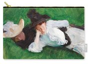 Two Girls On A Lawn Carry-all Pouch