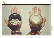 Two Hands Holding And Showing Both Sides Of Decorated Tibetan Singing Bowls Carry-all Pouch
