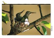 Two Hummingbird Babies In A Nest 5 Carry-all Pouch
