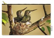 Two Hummingbird Babies In A Nest Carry-all Pouch