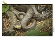 Two Intertwined Grass Snakes Lying In The Sun Carry-all Pouch