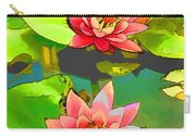 Two Pink Blooming Water Lilies  Carry-all Pouch