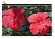 Two Red Hibiscus With Border Carry-all Pouch