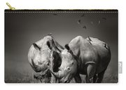 Two Rhinoceros With Birds In Bw Carry-all Pouch