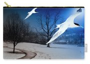 Two Seagulls Fly Together In The Clear Blue Sky Carry-all Pouch by Fernando Cruz
