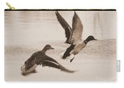 Two Winter Ducks In Flight Carry-all Pouch