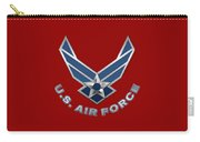U. S. Air Force  -  U S A F Logo On Red Leather Carry-all Pouch