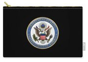U. S. Department Of State - Dos Emblem Over Black Velvet Carry-all Pouch