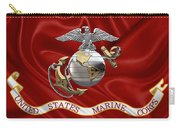 U. S.  Marine Corps - C O And Warrant Officer Eagle Globe And Anchor Over Corps Flag Carry-all Pouch