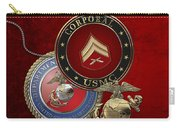 U. S.  Marines Corporal Rank Insignia Over Red Velvet Carry-all Pouch