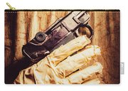 Undead Mummy  Holding Handgun Against Wooden Wall Carry-all Pouch