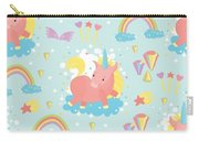 Unicorn And Rainbow Pattern Carry-all Pouch