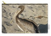 Up Close With A Pelican On A Sand Beach Carry-all Pouch