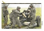 U.s. Army Soldier Throws A Spent 105mm Carry-all Pouch
