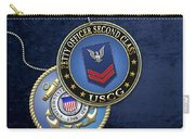 U.s. Coast Guard Petty Officer Second Class - Uscg Po2 Rank Insignia Over Blue Velvet Carry-all Pouch