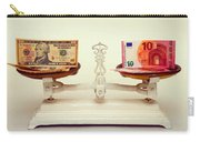 U.s. Dollar And Euro Banknotes On A Pair Of Scales In Vienna Carry-all Pouch