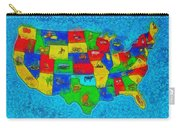 Us Map With Theme  - Special Finishing -  - Pa Carry-all Pouch
