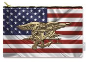 U.s. Navy Seals Trident Over U.s. Flag Carry-all Pouch