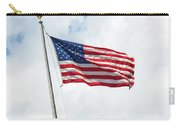 Usa Flag On Blue Sky With Clouds Carry-all Pouch