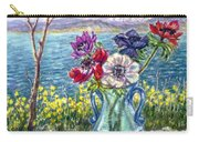 Vase Of Anemones With View Of Nafplio Carry-all Pouch