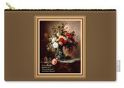 Vase With Roses And Other Flowers L A With Alt. Decorative Ornate Printed Frame. Carry-all Pouch