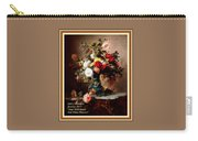 Vase With Roses And Other Flowers L A With Decorative Ornate Printed Frame. Carry-all Pouch