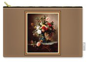 Vase With Roses And Other Flowers L B With Alt. Decorative Ornate Printed Frame. Carry-all Pouch