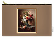 Vase With Roses And Other Flowers L B With Decorative Ornate Printed Frame. Carry-all Pouch