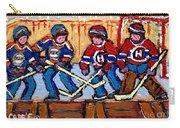 Verdun Hockey Rink Paintings Edmonton Oilers Vs Hometown Habs Quebec Hockey Art Carole Spandau       Carry-all Pouch
