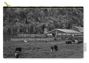 Vermont Farm With Cows Black And White Carry-all Pouch