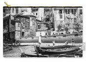Vernazza Boats And Church Cinque Terre Italy Bw Carry-all Pouch
