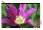 Very Pretty Dark Pink Blooming Tulip With Yellow In The Center Carry-all Pouch