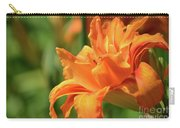Very Pretty Double Orange Daylily Flowering In A Garden Carry-all Pouch