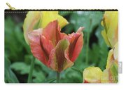 Very Pretty Flowering Pink And Green Striped Tulip Carry-all Pouch