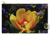 Very Pretty Flowering Yellow Tulip With A Red Center Carry-all Pouch