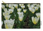 Very Pretty Spring Garden With Flowering White Tulips Carry-all Pouch