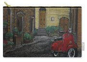 Vespa In The Rain Carry-all Pouch by Richard Le Page