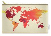 Vibrant Hot Watercolor World Map Carry-all Pouch