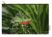Vibrant Oak Tiger Butterfly Surrounded By Blue Flowers Carry-all Pouch