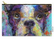 Vibrant Whimsical Boston Terrier Puppy Dog Painting Carry-all Pouch by Svetlana Novikova