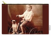 Victorian Boy With Pug Dog And Tricycle Circa 1900 Carry-all Pouch