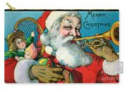Victorian Illustration Of Santa Claus Holding Toys And Blowing On A Trumpet Carry-all Pouch