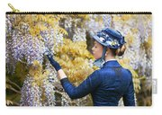 Victorian Woman Admiring Wisteria Flowers Carry-all Pouch