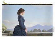 Victorian Woman In A Blue Dress Standing On The Terrace  Carry-all Pouch