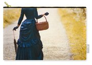 Victorian Woman With A Wicker Shopping Basket Carry-all Pouch