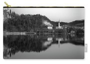 View Across Lake Bled In Black And White Carry-all Pouch